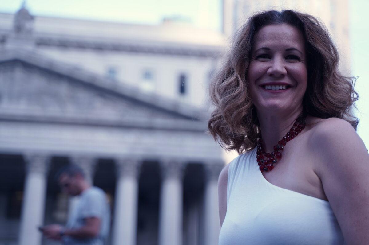 Lisa Eden, an opera singer, protesting against vaccine mandates at Foley Square, Manhattan, New York, on Sept. 27, 2021.